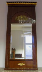 Empire Mahagoni Standspiegel mit Bronzeapplikationen um 1810 Antik Kolosseum