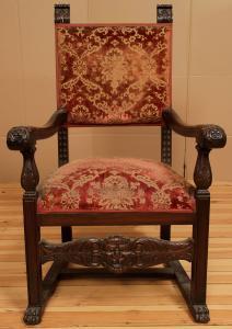 Formschöner Gründerzeit Armlehner aus Eiche gefertigt um 1900 Antik Kolosseum