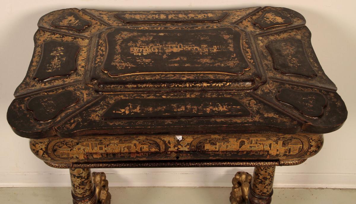 Wunderschöner Nähtisch mit chinesischer Handmalerei Antik Kolosseum 5