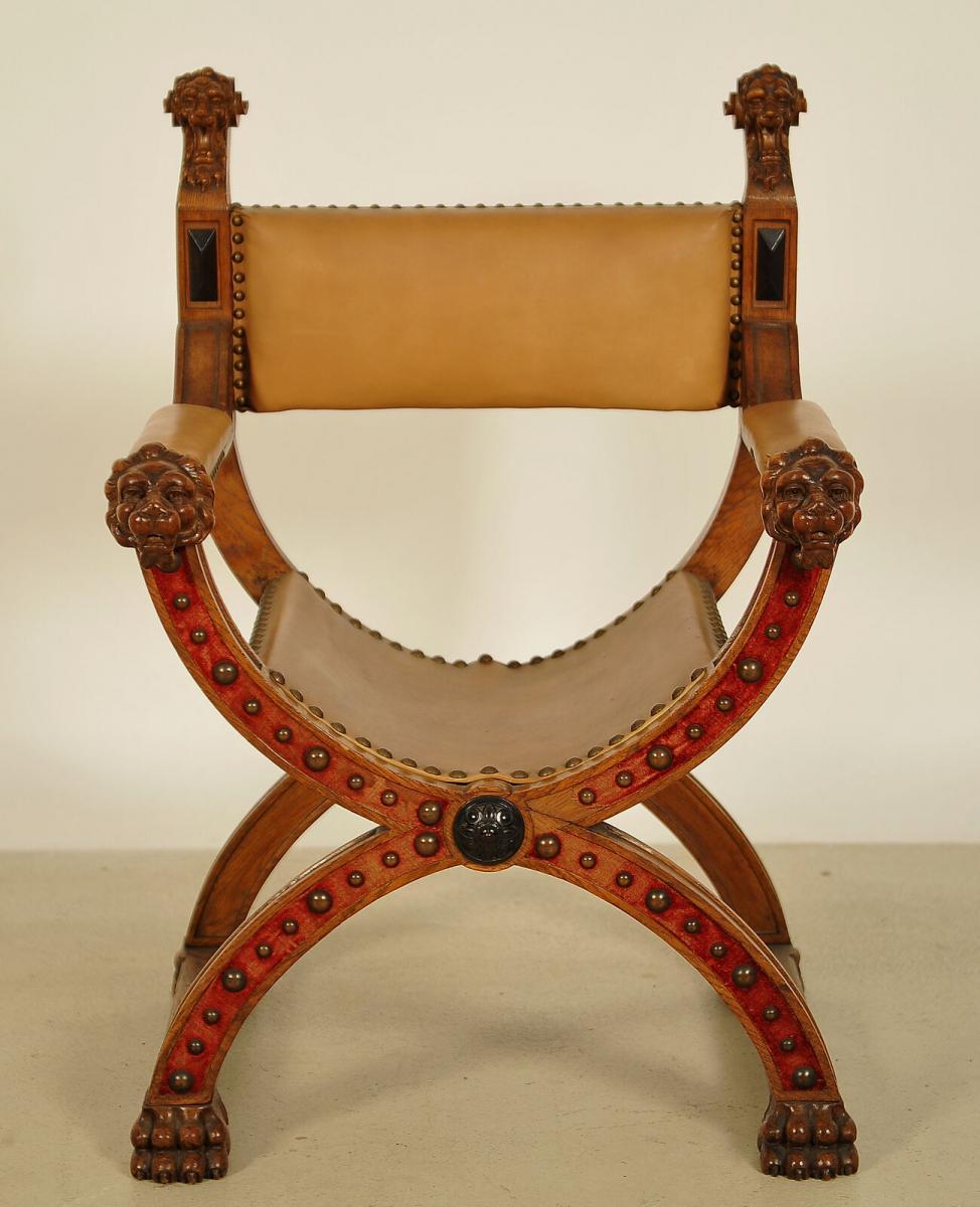 Gründerzeit Scherensessel aus Nussbaum mit Lederbezug Antik Kolosseum 1