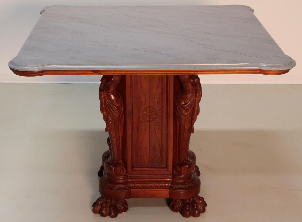 Figürlicher Gründerzeit Tisch mit eleganter Marmorplatte Antik Kolosseum