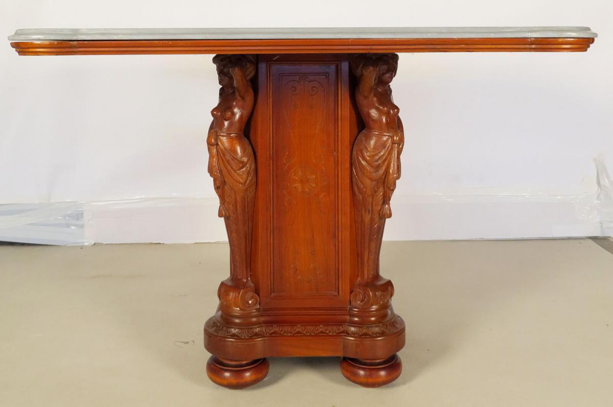 Figürlicher Gründerzeit Tisch mit eleganter Marmorplatte Antik Kolosseum 1