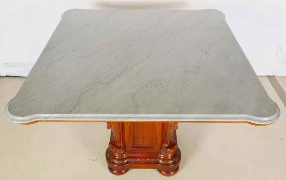 Figürlicher Gründerzeit Tisch mit eleganter Marmorplatte Antik Kolosseum 2