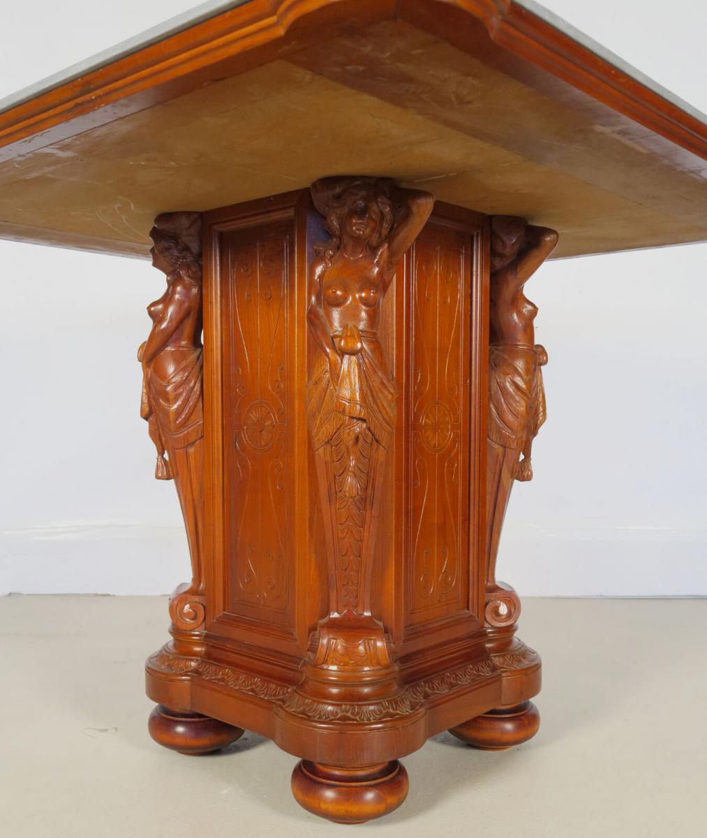 Figürlicher Gründerzeit Tisch mit eleganter Marmorplatte Antik Kolosseum 3
