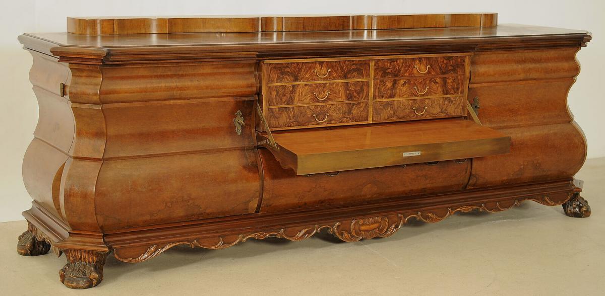 Bombiertes Nussbaum Sideboard mit Sekretärfach Antik Kolosseum 2