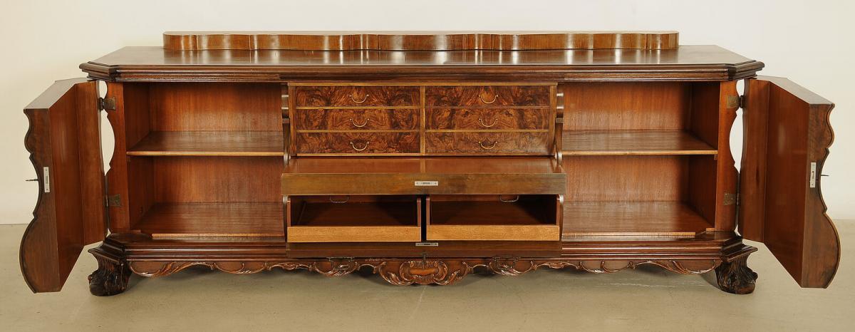 Bombiertes Nussbaum Sideboard mit Sekretärfach Antik Kolosseum 4