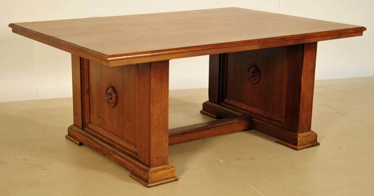 Massiver Bibliothekstisch / Tafel aus Nussbaum Antik Kolosseum 0