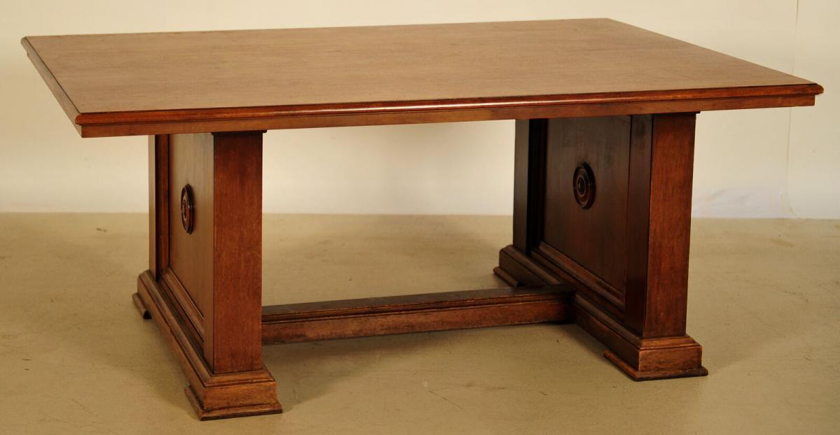 Massiver Bibliothekstisch / Tafel aus Nussbaum Antik Kolosseum 1