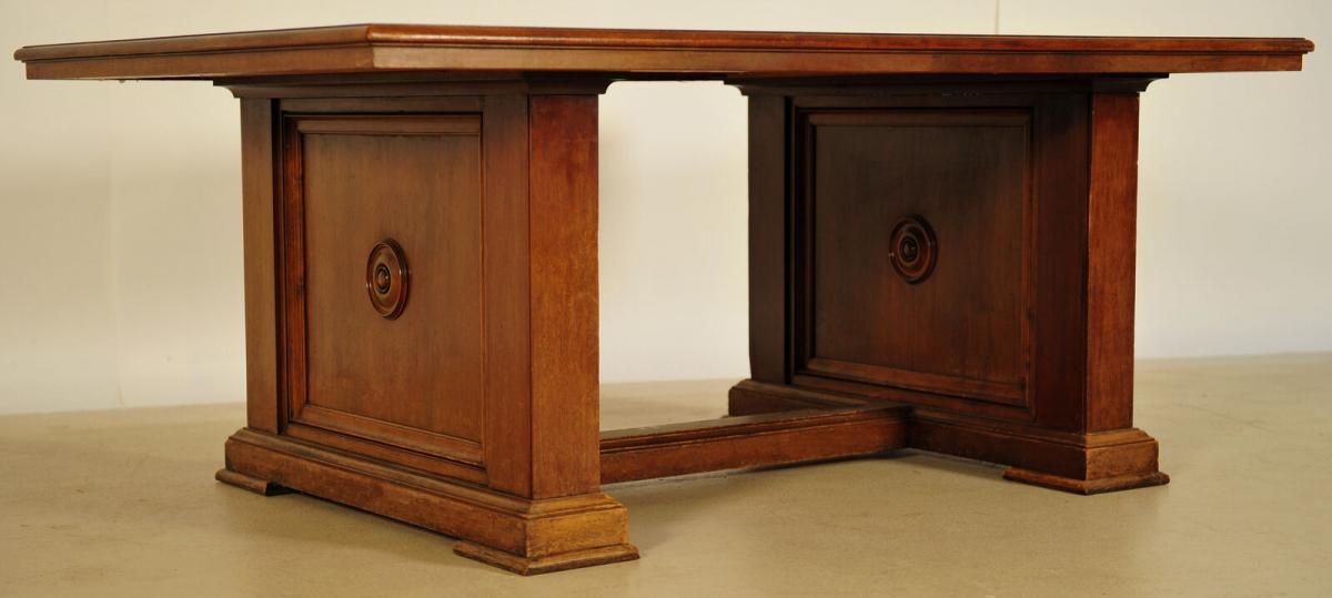 Massiver Bibliothekstisch / Tafel aus Nussbaum Antik Kolosseum 2