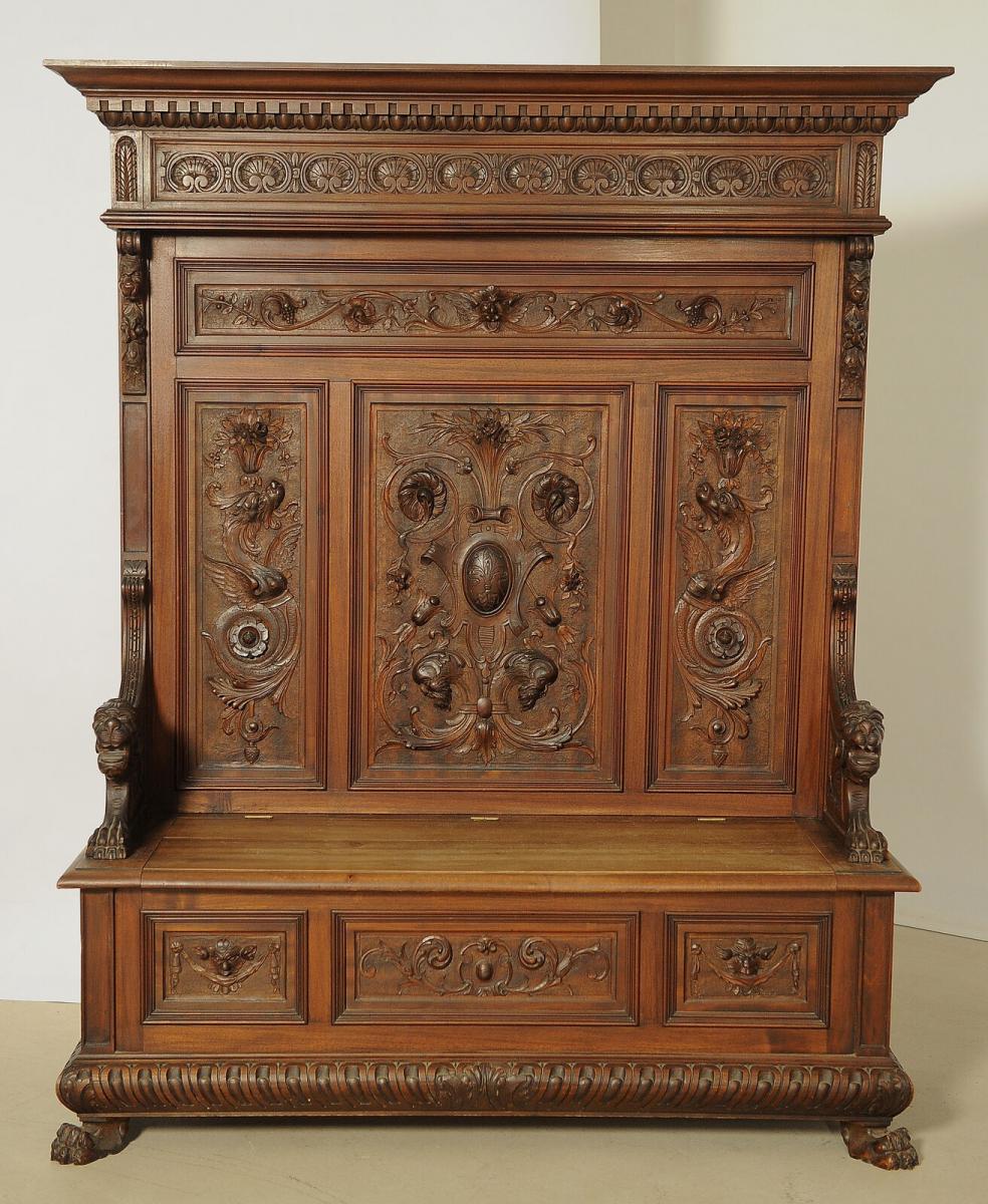 Fulminante prunkvolle Sitzbank aus dem Historismus Antik Kolosseum 0