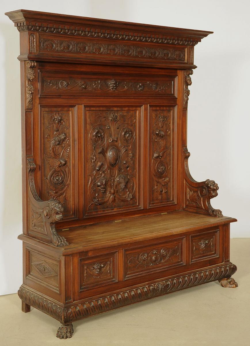 Fulminante prunkvolle Sitzbank aus dem Historismus Antik Kolosseum 1