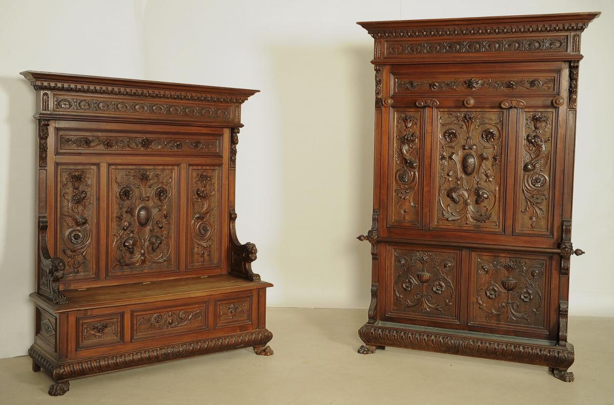 Fulminante prunkvolle Sitzbank aus dem Historismus Antik Kolosseum 5