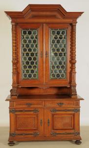Bücherschrank aus dem Danziger Barock mit Butzenscheiben Antik Kolosseum