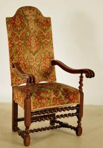 Thronstuhl aus dem Danziger Barock mit Gobelinbezug Antik Kolosseum