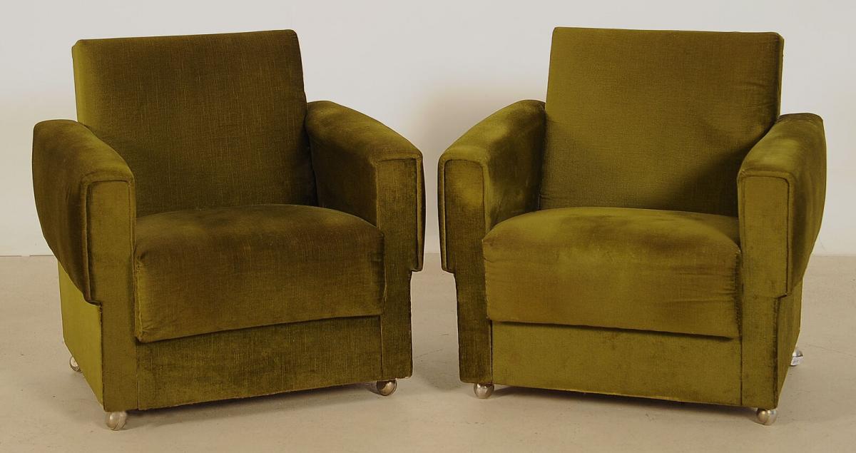 Zwei grüne Sessel aus den 70er Jahren Antik Kolosseum