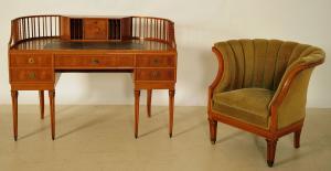 Eleganter Jugendstil Damenschreibtisch mit Stuhl Antik Kolosseum