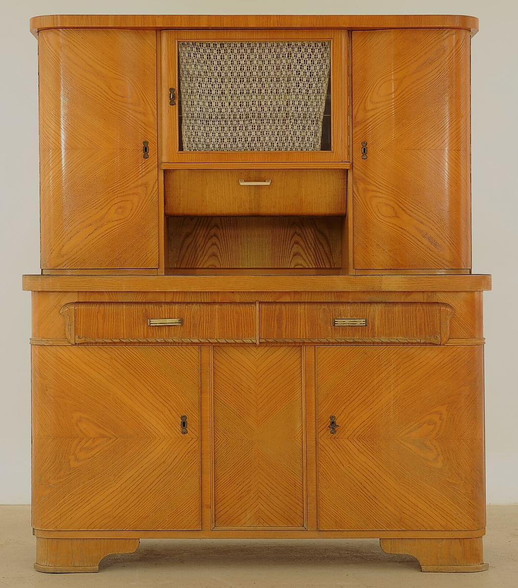 Praktischer Art Deco Küchenschrank aus Eschenholz Antik Kolosseum 0