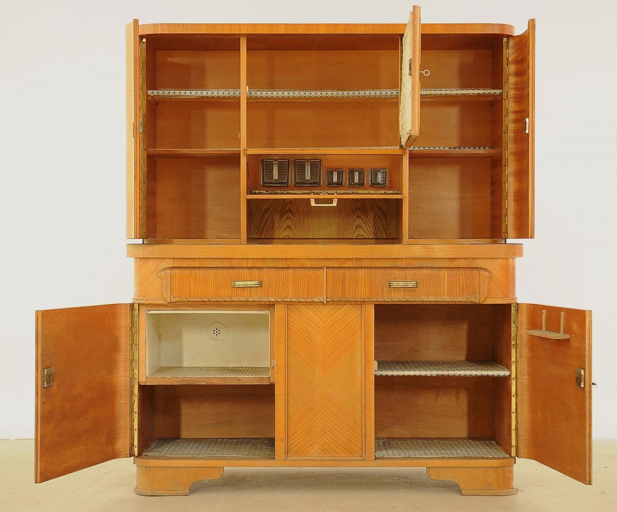 Praktischer Art Deco Küchenschrank aus Eschenholz Antik Kolosseum 2