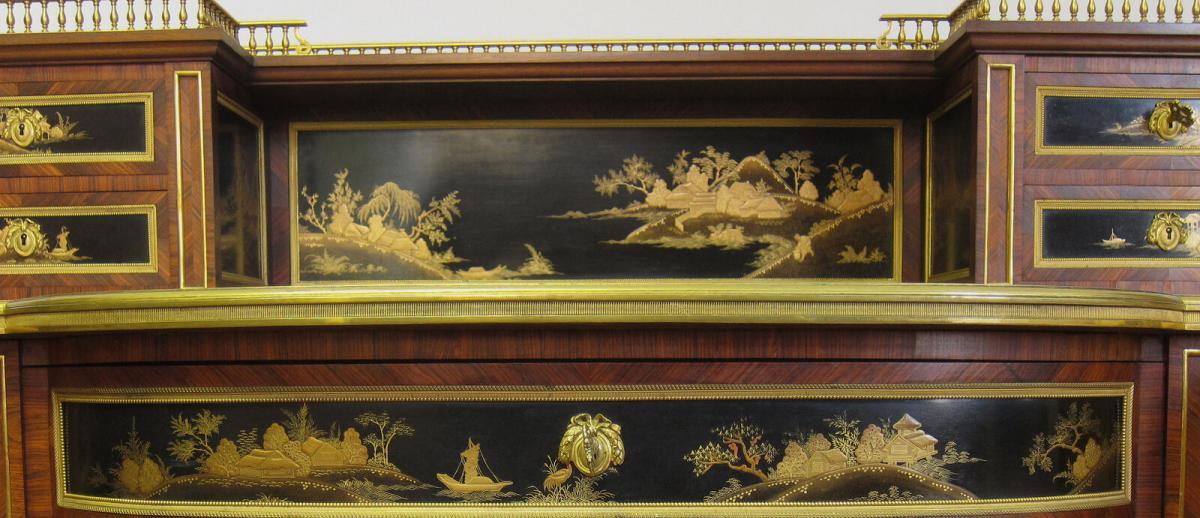 Einzigartiger Pariser Damenschreibtisch mit Chinoiserien Antik Kolosseum 11