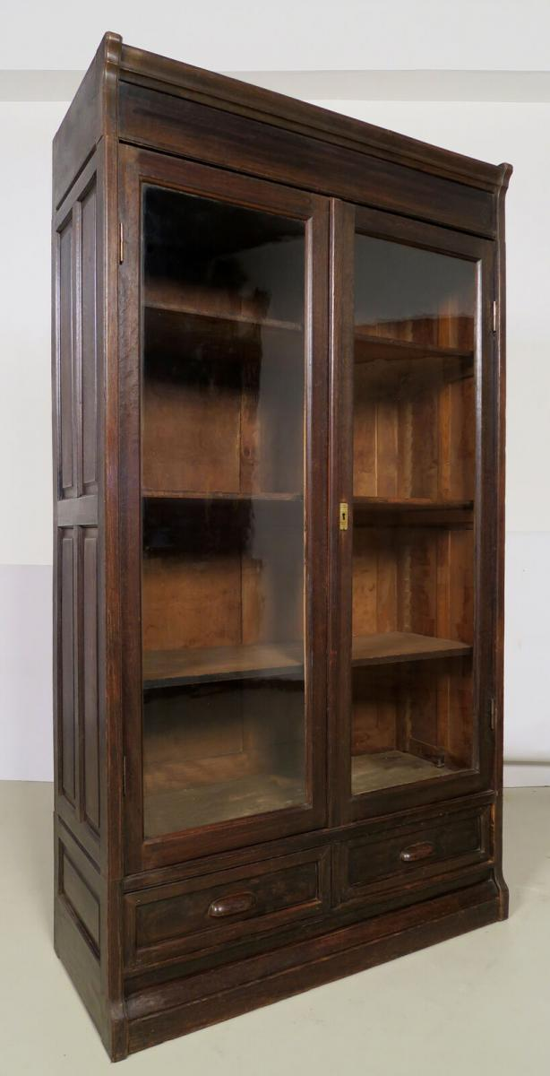 Dreiteilige Jugendstil Bücherwand / Bibliothekswand aus Eiche Antik Kolosseum 4