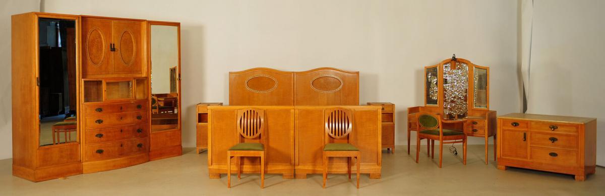 Außergewöhnliches Jugendstil Schlafzimmer aus Birkenholz Antik Kolosseum 0