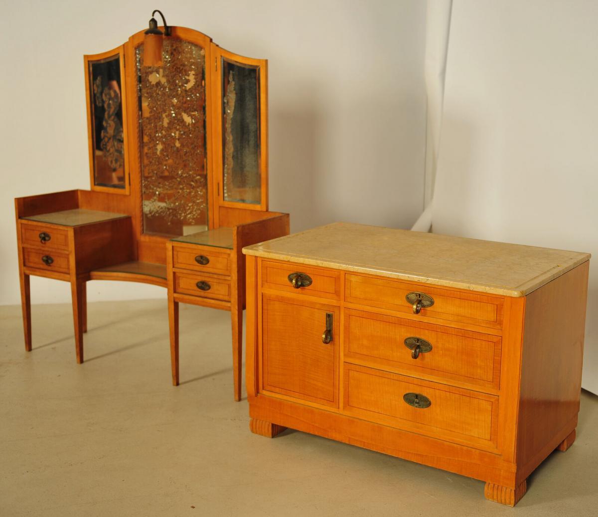 Außergewöhnliches Jugendstil Schlafzimmer aus Birkenholz Antik Kolosseum 10