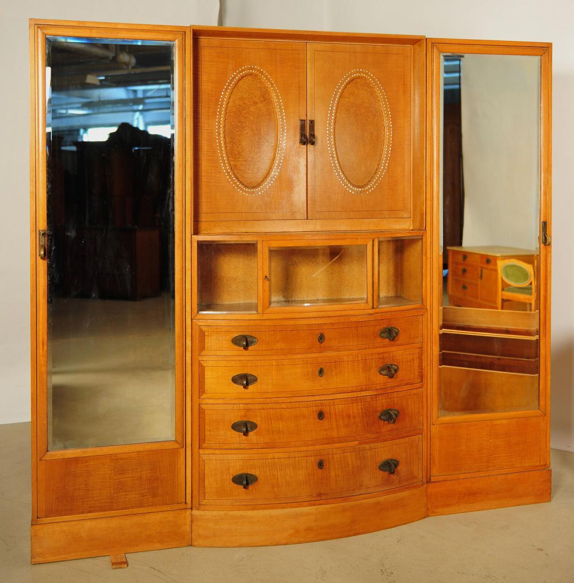 Außergewöhnliches Jugendstil Schlafzimmer aus Birkenholz Antik Kolosseum 5