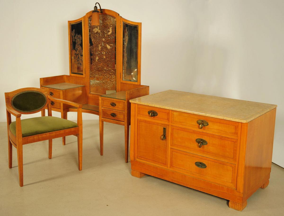 Außergewöhnliches Jugendstil Schlafzimmer aus Birkenholz Antik Kolosseum 8