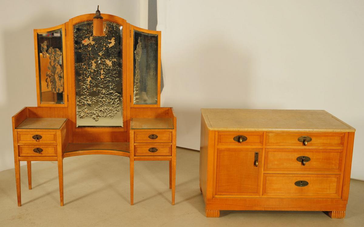 Außergewöhnliches Jugendstil Schlafzimmer aus Birkenholz Antik Kolosseum 9