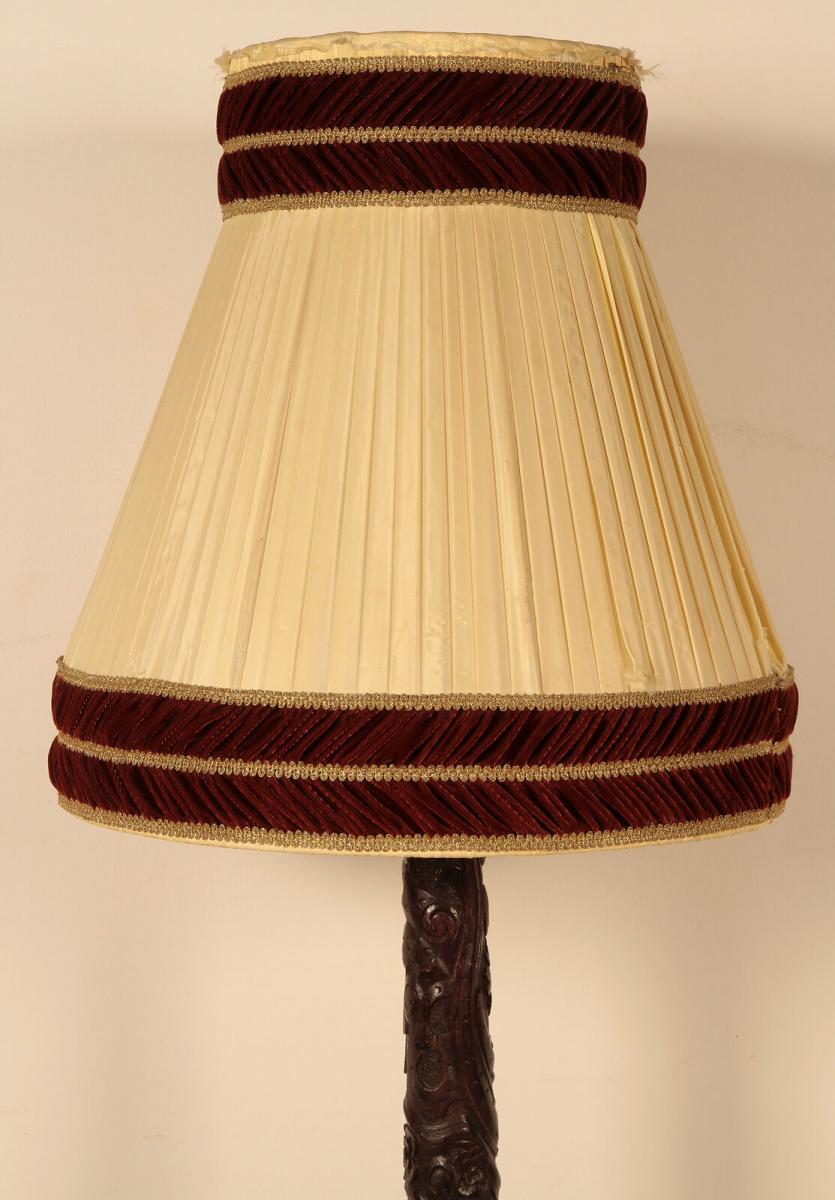 Seltene Gründerzeit Stehlampe mit schönem Schnitzwerk Antik Kolosseum 4