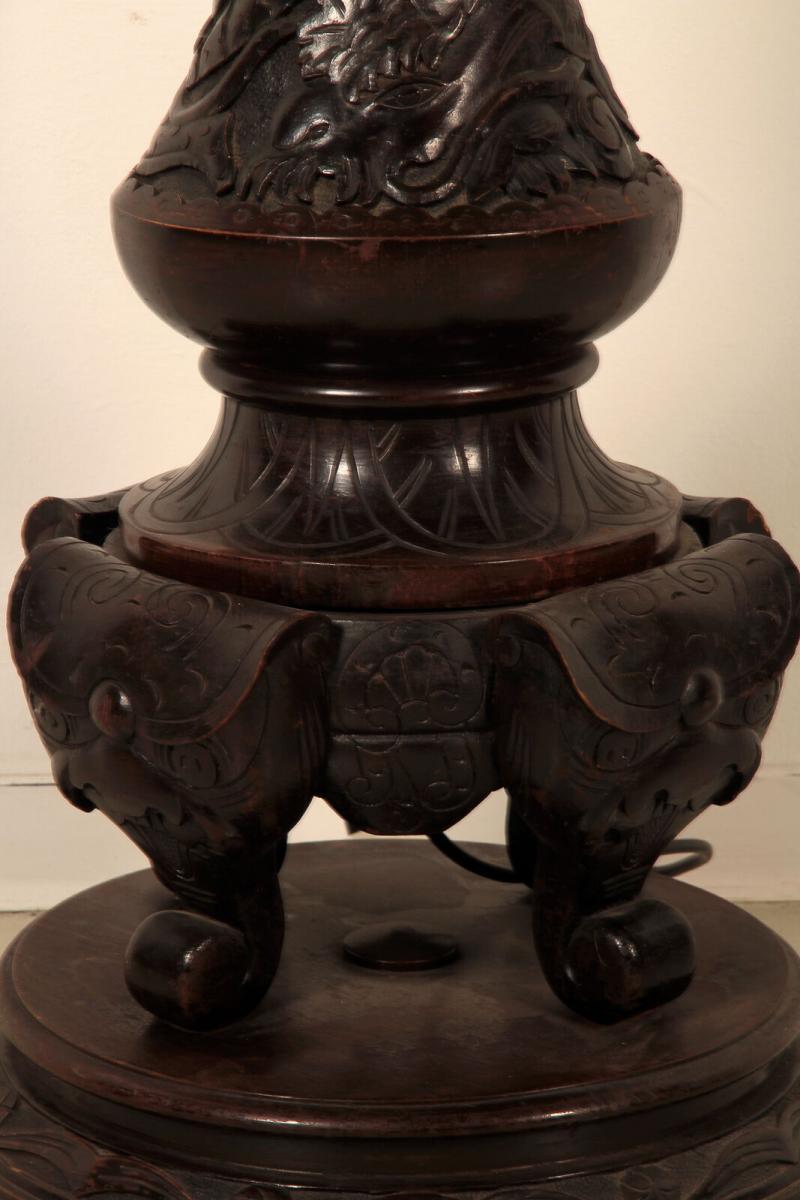Seltene Gründerzeit Stehlampe mit schönem Schnitzwerk Antik Kolosseum 9
