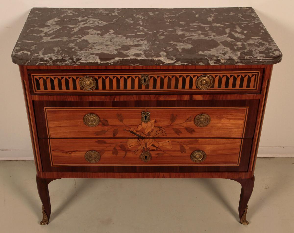 Louis Seize Sil Kommode gefertigt um 1900 aus diversen Hölzern Antik Kolosseum 0