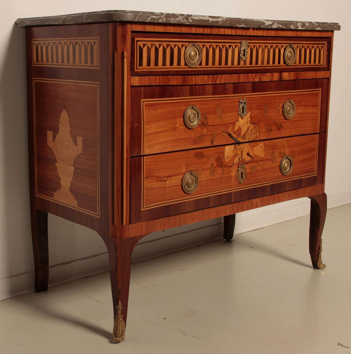 Louis Seize Sil Kommode gefertigt um 1900 aus diversen Hölzern Antik Kolosseum 1