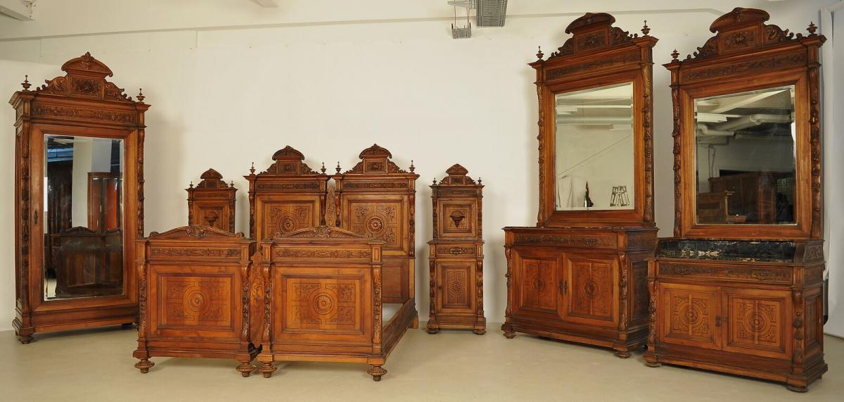 Seltenes 8  teiliges Berliner Gründerzeit Nussbaum Schlafzimmer Antik Kolosseum Nr. 392684991079 ...