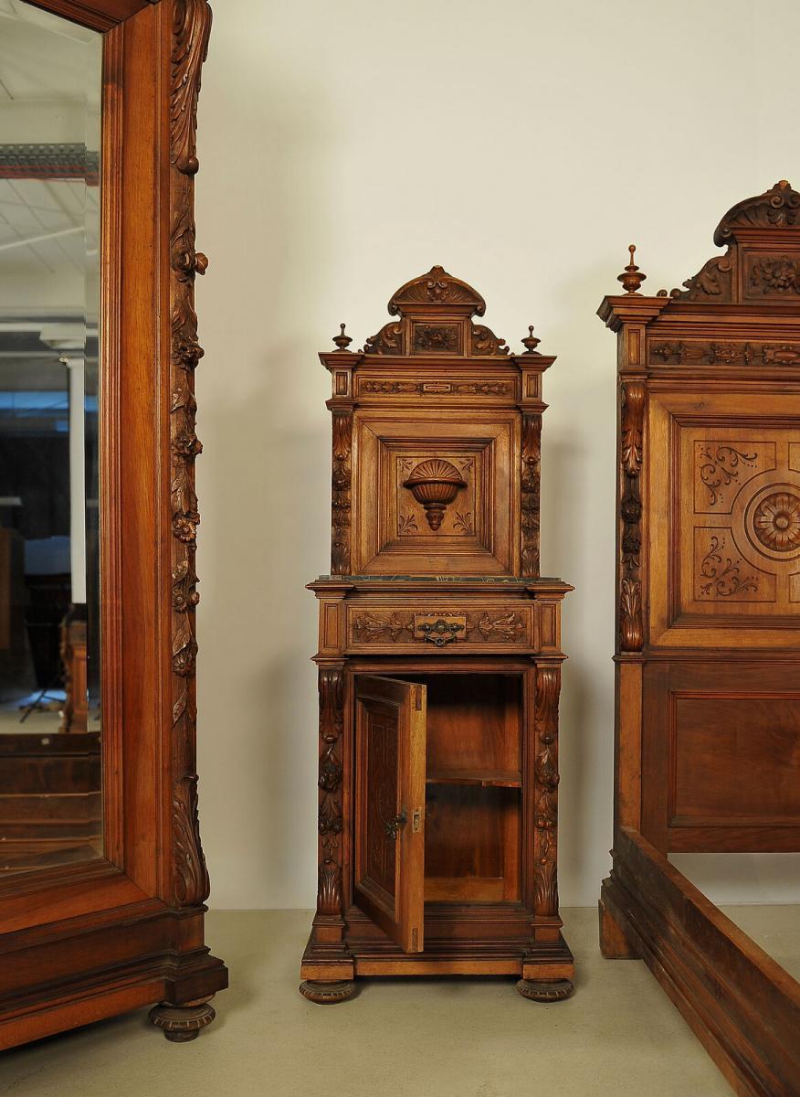 Seltenes 8 teiliges Berliner Gründerzeit Nussbaum Schlafzimmer Antik Kolosseum