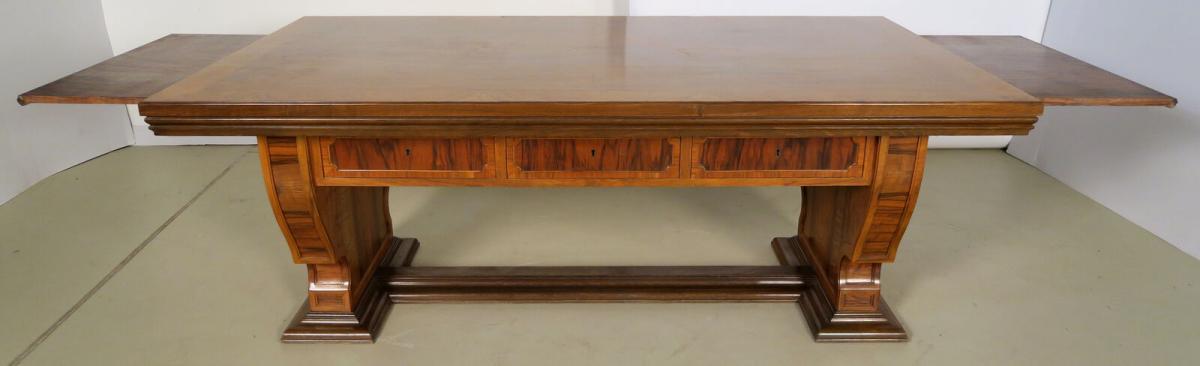 Einzigartiger Schreibtisch mit Auszugsplatten und Intarsien Antik Kolosseum 0