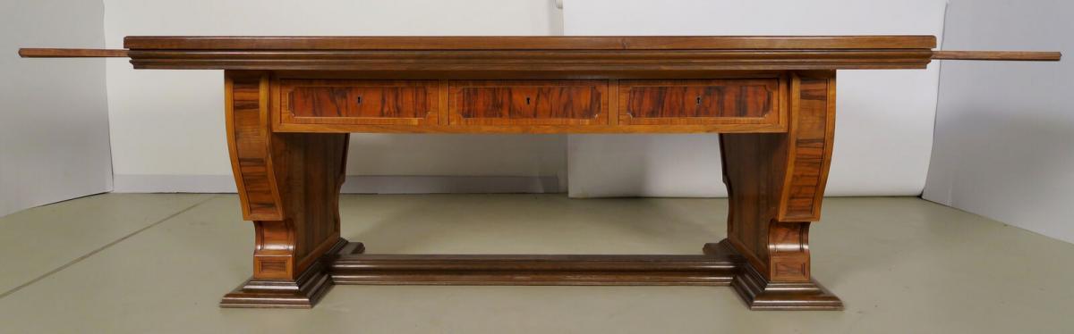 Einzigartiger Schreibtisch mit Auszugsplatten und Intarsien Antik Kolosseum 1