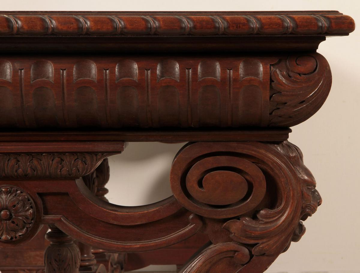 Einzigartiger Schreibtisch mit Auszugsplatten und Intarsien Antik Kolosseum 10