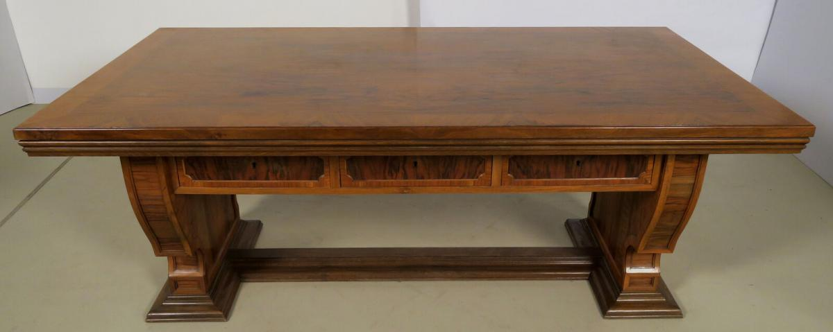 Einzigartiger Schreibtisch mit Auszugsplatten und Intarsien Antik Kolosseum 2