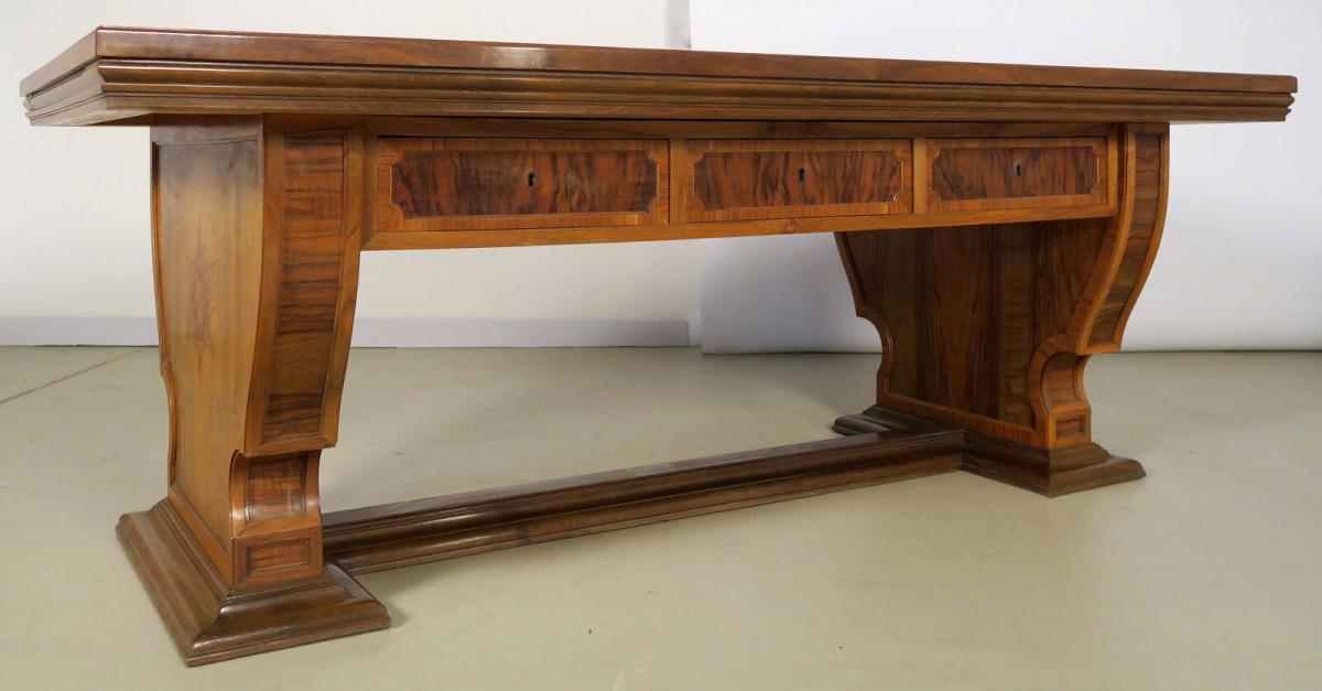 Einzigartiger Schreibtisch mit Auszugsplatten und Intarsien Antik Kolosseum 3