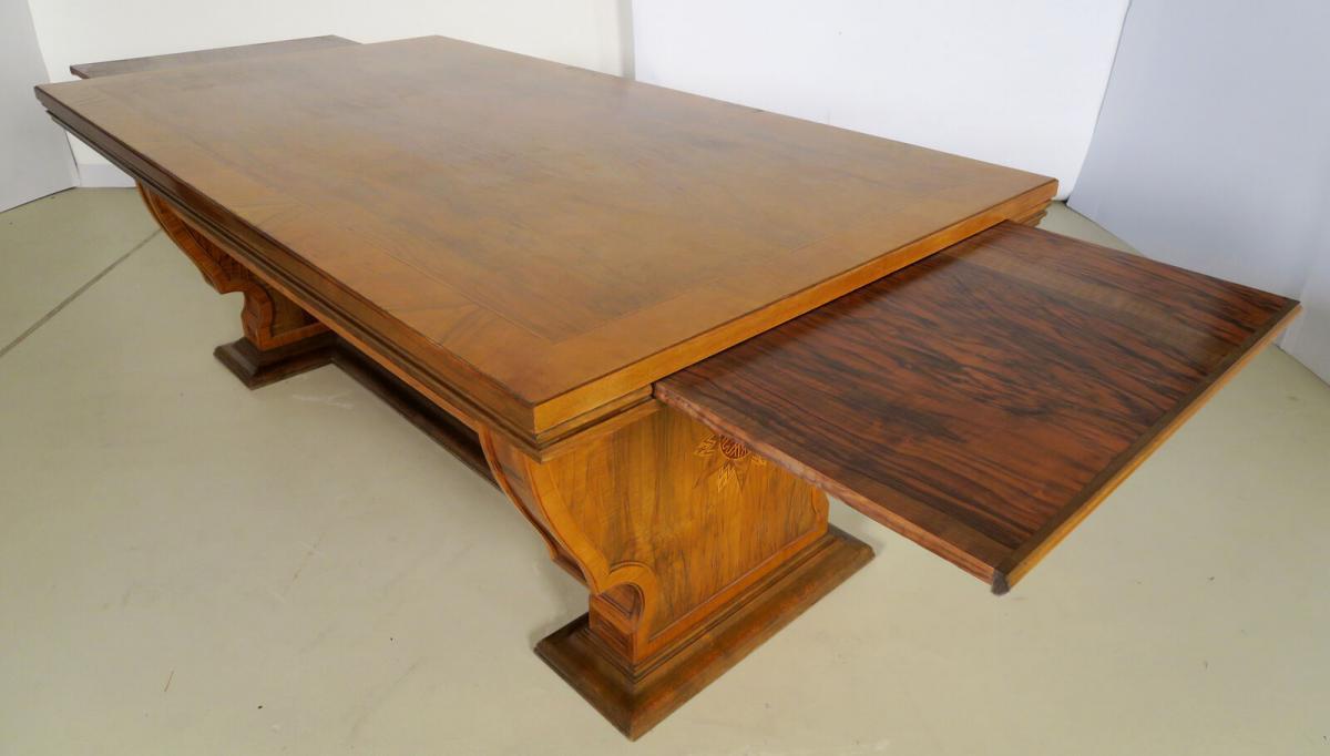 Einzigartiger Schreibtisch mit Auszugsplatten und Intarsien Antik Kolosseum 4