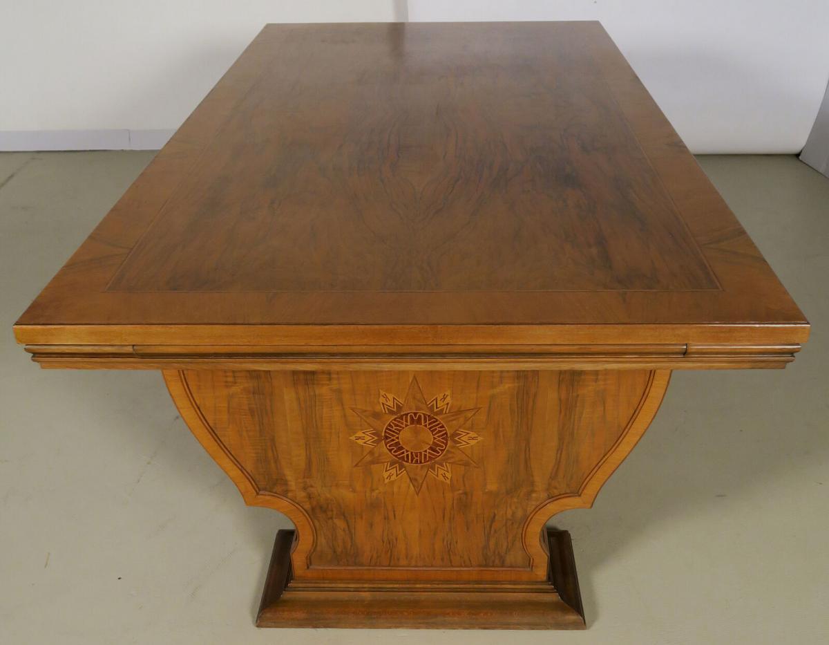 Einzigartiger Schreibtisch mit Auszugsplatten und Intarsien Antik Kolosseum 5