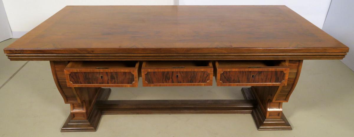 Einzigartiger Schreibtisch mit Auszugsplatten und Intarsien Antik Kolosseum 6