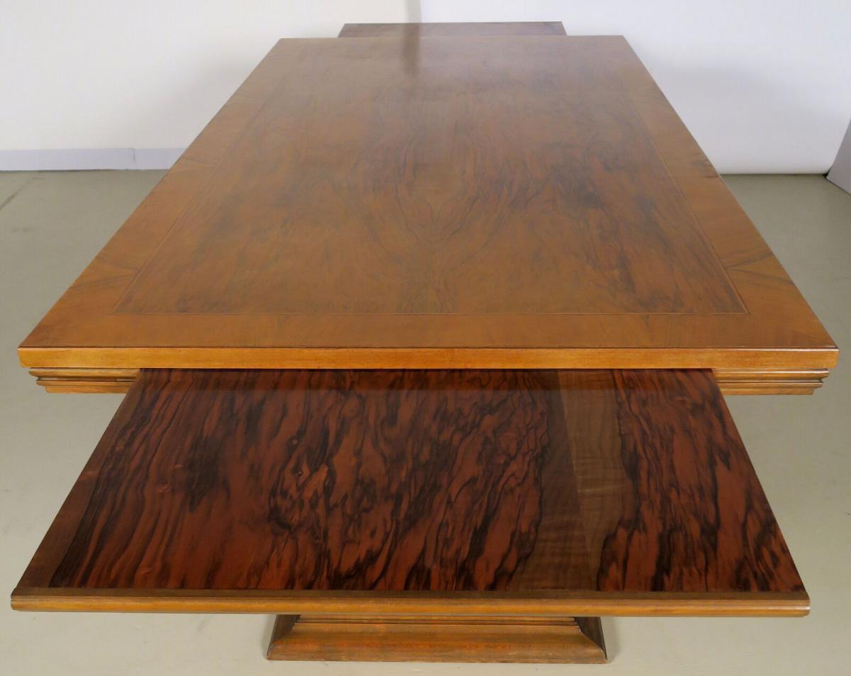 Einzigartiger Schreibtisch mit Auszugsplatten und Intarsien Antik Kolosseum 7