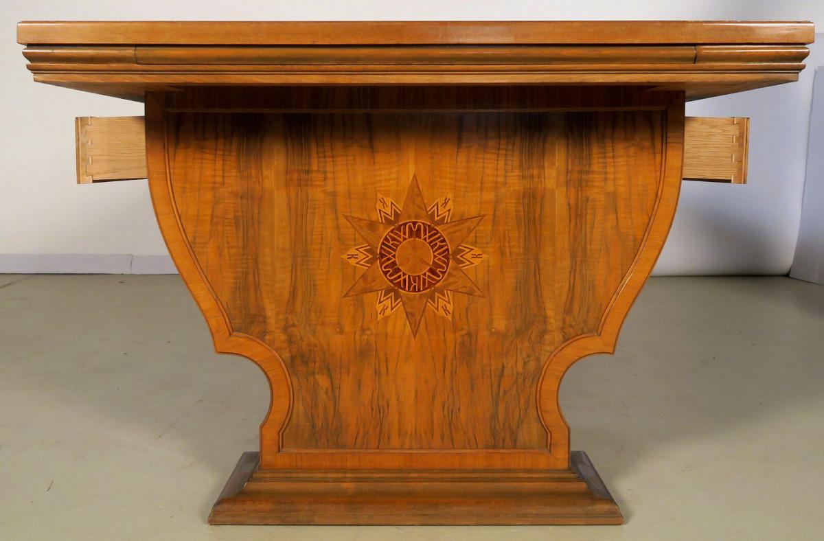 Einzigartiger Schreibtisch mit Auszugsplatten und Intarsien Antik Kolosseum 8