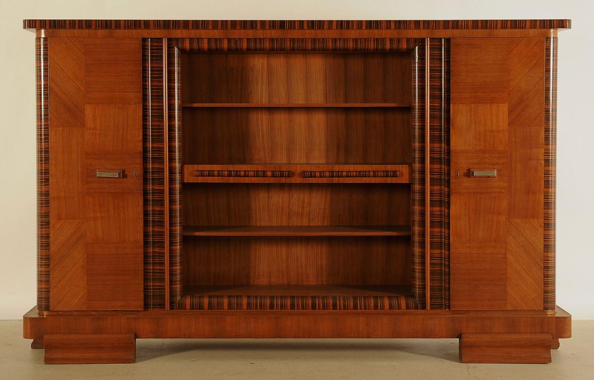 Eleganter Art Deco Nussbaum/Macassar Barschrank / Bücherschrank Antik Kolosseum 0