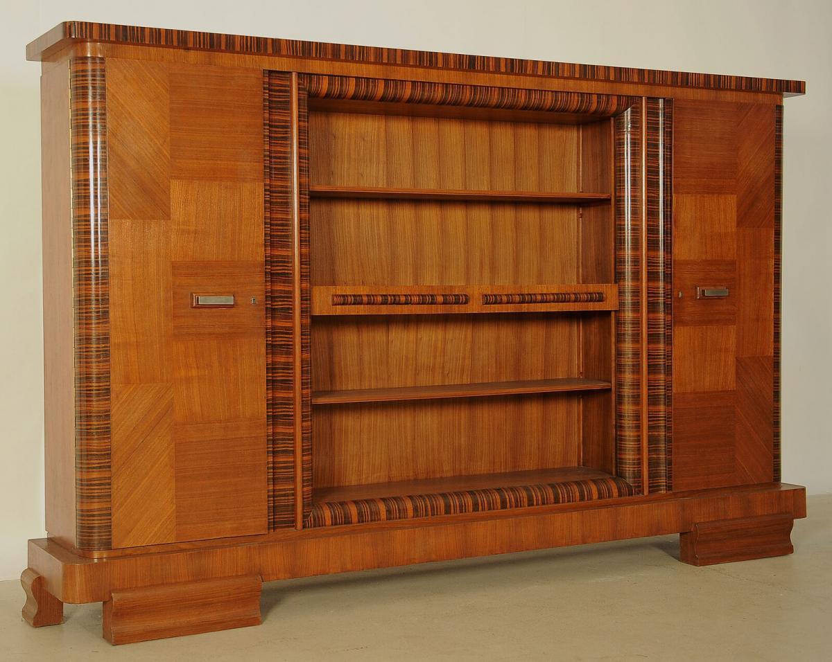 Eleganter Art Deco Nussbaum/Macassar Barschrank / Bücherschrank Antik Kolosseum 1