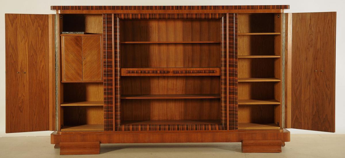 Eleganter Art Deco Nussbaum/Macassar Barschrank / Bücherschrank Antik Kolosseum 2