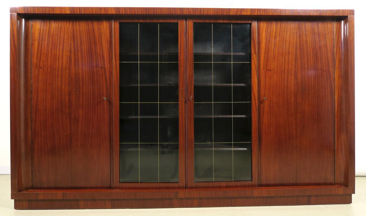 Viertüriger Bauhaus Bücherschrank aus Makassar gefertigt Antik Kolosseum 0