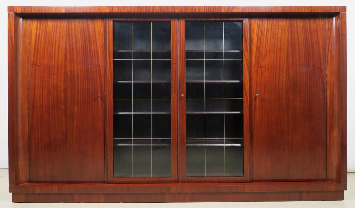 Viertüriger Bauhaus Bücherschrank aus Makassar gefertigt Antik Kolosseum 1